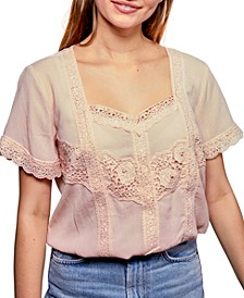 Juniors' Lace-Trim Top