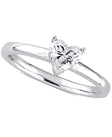 Diamond Heart Solitaire Engagement Ring (1/2 ct. t.w.) in 14k White Gold