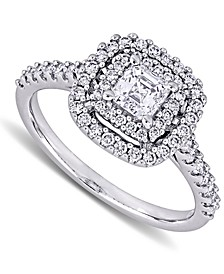 Diamond Asscher Center Halo Engagement Ring (1 ct. t.w.) in 14k White Gold