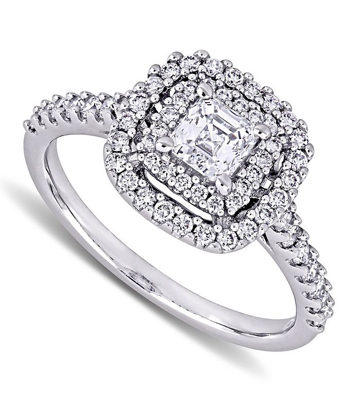 Macy's Diamond Asscher Center Halo Engagement Ring (1 ct. t.w.) in 14k White Gold