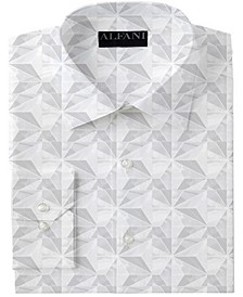 Men's Classic/Regular-Fit Performance Stretch Marble Geo-Print Dress Shirt, Created for Macy's