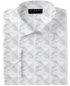 Alfani Men's Classic/Regular-Fit Performance Stretch Marble Geo-Print Dress Shirt, Created for Macy's