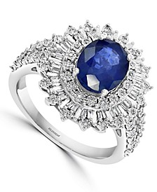 EFFY® Sapphire (1-7/8 ct. t.w.) & Diamond (1/4 ct. t.w.) Halo Statement Ring in 14k White Gold