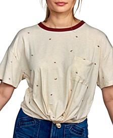 Juniors' Star-Print Tie-Hem Ringer Top