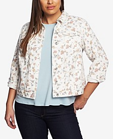 Women's Plus Small Duchess Printed Denim Jacket