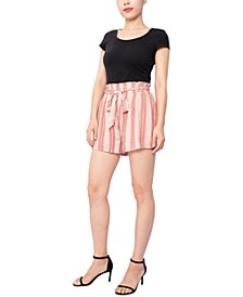 Juniors' Paperbag-Waist Soft Shorts