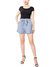 Juniors' Paperbag-Waist Shorts