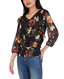 Juniors' Floral-Print Smocked-Hem Top