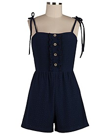Juniors' Ruffled Eyelet Romper