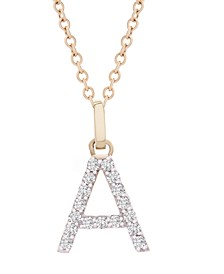 "Diamond Initial Pendant Necklace (1/10 ct. t.w.) in 14k Gold, 18"" + 2"" Extender"
