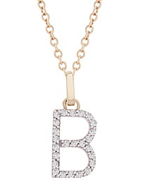 """Diamond Initial Pendant Necklace (1/10 ct. t.w.) in 14k Gold, 18"""" + 2"""" Extender"""
