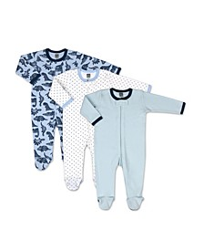 Baby Boys Dinos and Dots 3 Pack Sleepers
