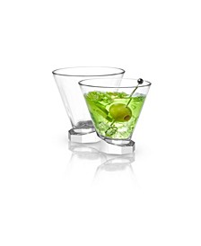 Aqua Vitae Off Base Octagon Martini Glasses, Set of 2