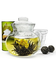 Blossom Borosilicate Glass Teapot Infuser and 12 Blooming, Loose Leaf, Bagged and Flowering Tea