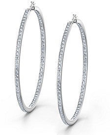 Silver-Tone Large Crystal Hoop Earrings, 2.12""