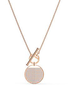 "Swarovski Rose Gold-Tone Crystal Coin 17-5/8"" Reversible Pendant Necklace"