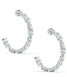 """Silver-Tone Medium Crystal C-Hoop Earrings, 1.5"""""""