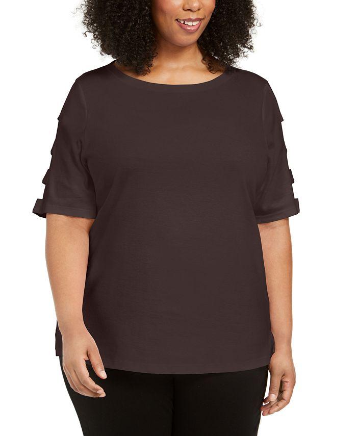 Karen Scott - Plus Size Cut-Out-Sleeve Cotton Top