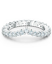 Silver-Tone Crystal V-Ring