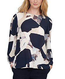 Long-Sleeve Abstract Print Blouse