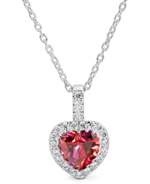 """Cubic Zirconia Heart Halo 18"""" Pendant Necklace in Sterling Silver"""