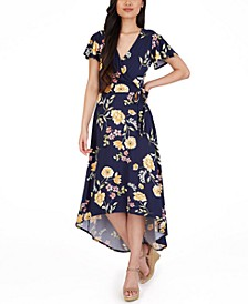 Juniors' Faux-Wrap High-Low Dress