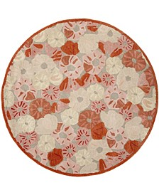 Poppy Field MSR3625B Terracotta 6' x 6' Round Area Rug