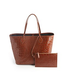 Croc-Embossed Wide Tote Bag Wristlet