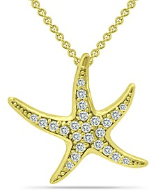 "Cubic Zirconia Starfish Pendant Necklace in 18k Gold-Plated Sterling Silver, 16"" + 2"" extender, Created for Macy's"