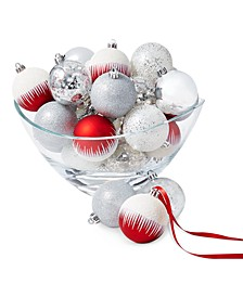 Chalet You Stay Red, White, and Silver Shatterproof Ornaments, Set of 25, Created for Macy's