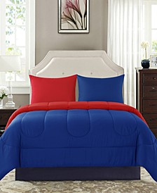 Sega Home Solid Reversible 3 Piece Full/Queen Comforter Set