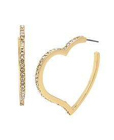 Stone Heart Hoop Earrings