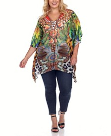 Plus Size Criss-Cross Neckline Animal Print Caftan Top