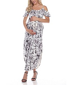 Women's Maternity Cold Shoulder Tie-Dye Maxi Dress