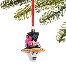 Day of the Dead Molded Glass Skull in Colorful Top Hat Ornament, Created for Macy's