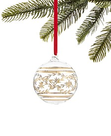 Evergreen Dreams Clear Glass Ball Ornament with Etched Gold Decoration, Created for Macy's