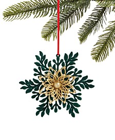 Evergreen Dreams Flocked and Glittered Snowflake Ornament, Created for Macy's