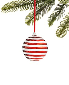 Peppermint Twist Red and White Stripe Ball Ornament, Created for Macy's