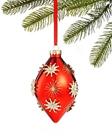 Renaissance Red ornament with gold snowflakes, Created for Macy's