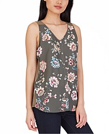 Juniors' Floral-Print Contrast-Back Top