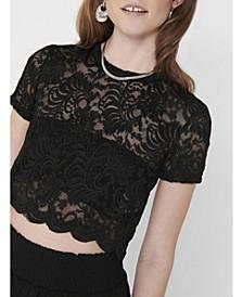 Alba Lace Short Sleeve Crop Top