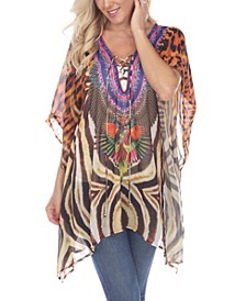 Women's Animal Print Caftan with Tie-Up Neckline