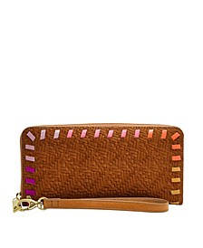Women's Logan Zip Around Clutch Vintage-Like Saddle Woven Emboss with Bright Piping