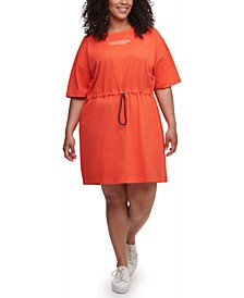 Plus Size Cotton Drawstring T-Shirt Dress