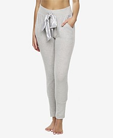 Cozy Hacci Jogger with Satin Pocket and Front Tie