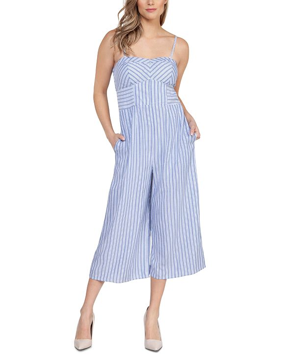 Black Tape Striped Cropped Jumpsuit
