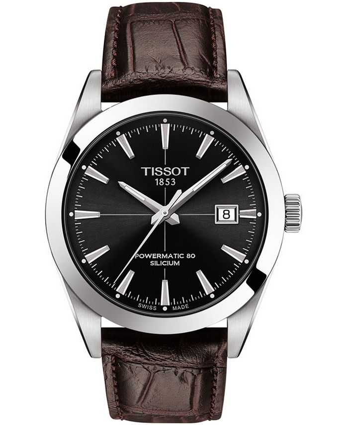 Tissot - Men's Swiss Automatic Powermatic 80 Silicium Brown Leather Strap Watch 40mm