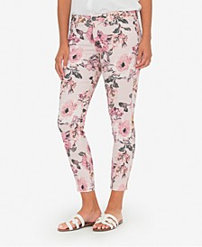 Connie Mid-Rise Floral-Print Skinny Jeans