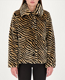 Zebra-Print Faux-Fur Coat