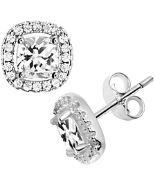 Cubic Zirconia Square Halo Stud Earrings in Fine Silver-Plate